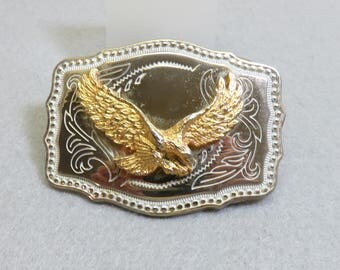 Western Chased Metal Eagle Belt Buckle, Chromed Metal , Vintage