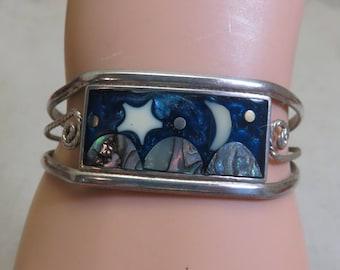 Vintage Alpaca Silver Moon and Star Cuff Bracelet