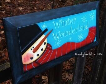 Snowman sign, wood sign, snowman picture, Christmas sign, hand painted, winter wonderland sign, snowflake, winter decor, snowman decor, prim