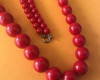 Vintage Light Weight Cherry Red Long Graduated Bead Necklace