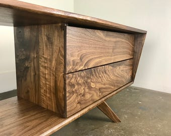 "The ""UncleMilty"" a mid century modern TV console, SOLID WALNUT!!"