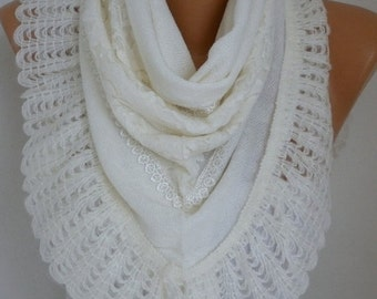 ON SALE --- White Knitted Scarf Shawl Cowl Lace Oversized Bridesmaid Gift,Bridal Scarf, Gift Ideas For Her Women Fashion Accessories Mother