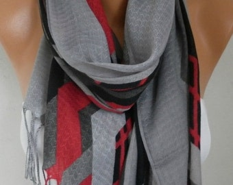 ON SALE --- Gray Cotton Scarf, Fall Fashion ,Shawl, Cowl Oversize Wrap Gift Ideas For Her, Women Fashion Accessories,Christmas Gift Women Sc