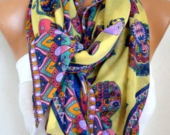 ON SALE --- Yellow Owl,Bird,Cat Cotton Soft Scarf,Fall Scarf,Pareo, Oversize Scarf, Cowl Scarf, Shawl, Gift Ideas For Her,Women Fashion Acce