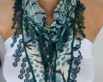 ON SALE --- Teal Cotton Scarf - Shawl Cowl Scarf Gift Ideas for Her Women Fashion Accessories,women scarves