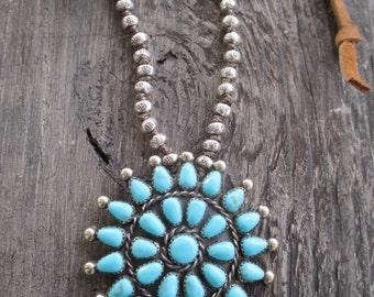 Vintage turquoise necklace - SunShine - sterling and fine silver artisan leather necklace southwestern boho by slashKnots