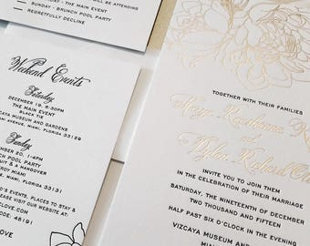 Foil Wedding Invitation - Champagne Foil - Romantic Wedding Invitations - Calligraphy - Custom Wedding Invitations