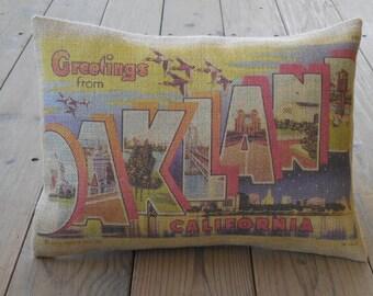 Oakland Burlap Pillow , California travel postcard, Vintage Travel, INSERT INCLUDED