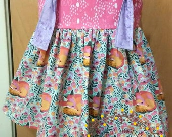 Fancy Fox Floral Knot Dress - Made to Order - Girls