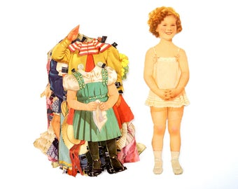 "Vintage Paper Doll ""Shirley Temple"" with Clothing, 13 pieces (c.1940s) - Doll Ephemera, Collectible Doll, Paper Projects"