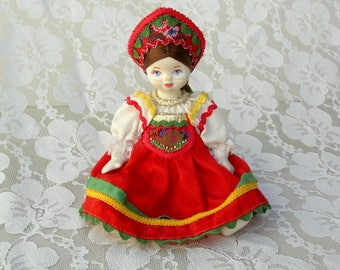 SUMMER SALE Russian Girl Doll, authentic handmade costume & headdress, hand-painted freckled face, collectible international doll