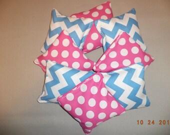 Cornhole bags Chevron Blue Pink polka dots corn hole bags bean bags ACA Regualtion Teal pink wedding