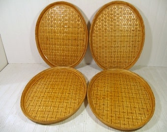 Rattan Serving Tray Vintage Woven Bamboo - Large Oval Handmade Sturdy Bamboo Frame & Wicker Waitstaff, Bed, Vanity, Decor Tray - 4 Available