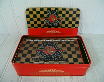 NASCAR Collectible Tin with 50 Book Matches Winston Cup Series Champions 25th Anniversary with NASCAR Winston Cup Champions - Never Opened