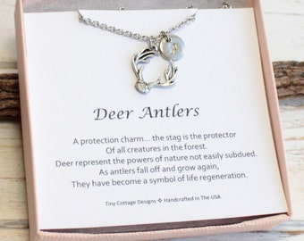 Silver Antler Necklace with Initial of Your Choice