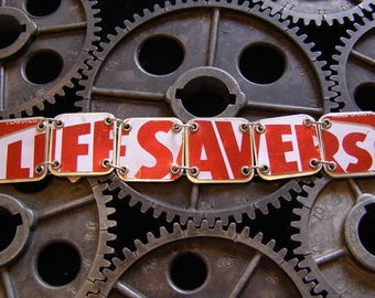 Recycled / Upcycled Vintage Tin Bracelet - LIFESAVERS