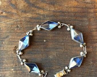 Vintage sterling art glass bracelet