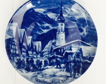 Christmas Eve 1990 Garmisch Partenkirchen The German Christmas Plate-Berlin Design by Berlin Design Wall Display Plate Plate Germany Chintz