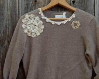 tan ecru taupe cashmere soft pullover wool eco upcycled winter rustic boho gypsy vintage lace country farm girl anthropologie like sweater
