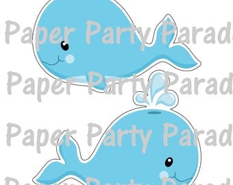 DIY Print at HOME Under the Sea Party - Centerpiece -Table Topper -Birthday Party -Baby Shower -Whale - Dolphin- Ocean - Nautical -Set of 12