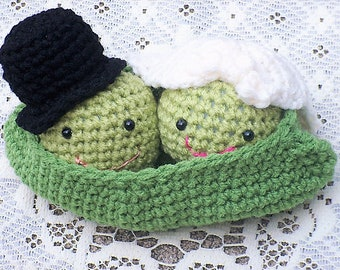 Amigurumi Wedding Set - Closer Than 2 Peas In A Pod - Newlywed Peas Nestled Together In Their Lil Pea Pod - MADE TO Order