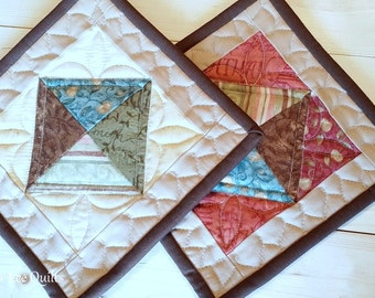 Mini Quilt Potholders - Set of 2 - Tan, Red, Blue, Green, Brown Potholders - Ready to Ship!