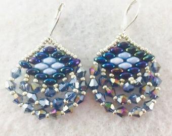 Blue Earrings, Blue Crystal Earrings, Super Duo Earrings, Swarovski Beaded Earrings, Crystal Dangle Earrings, Beadwork Earrings