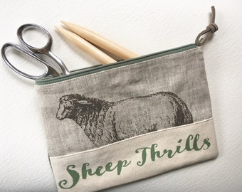 Sheep Thrills Knitting Notions Bag, Needle Case, Canvas and Linen
