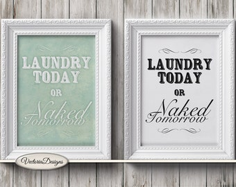 Laundry Naked Print Laundry Room Printable black and white print wall art digital print instant download digital collage sheet - VDWAQU1594