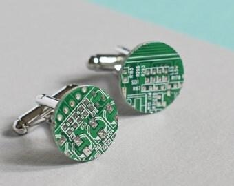 Genuine Circuit Board Cufflinks - Round