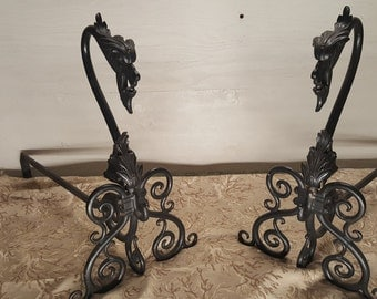 Bradley and Hubbard- cast iron- Gargoyle andiron's, antique