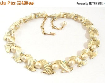 ON SALE Gold Tone Linked Collar Necklace with AB Rhinestones and Pearl Cabochons