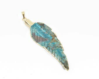"1 AGATE Gemstone FEATHER Gemstone Pendant, Turquoise Stone with Gold Plated Bezel, 2.5"" to 2.75"" long, cgm0059"