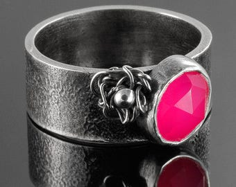 TYRIA Silver ring with agate