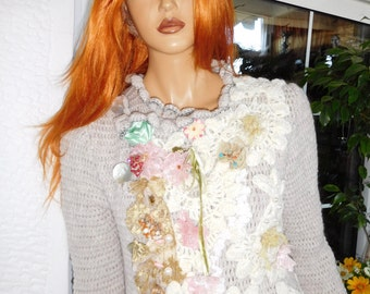 jacket lace cardigan romantic handmade crochet jumper embroidered wearable art  double-breasted  ready to ship by golden yarn