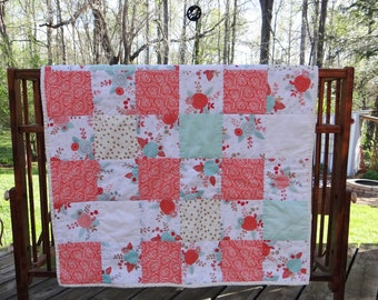 Big Floral Baby Girl Quilt ~ Big Floral Baby Quilt in Coral, Gold and Sea-foam Green
