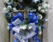 FREE SHIP THRU 12/12/16, Holiday Wreath, Hanukkah Wreath, Christmas Wreath, Designer Christmas, Blue Holiday Wreath, Elegant Holiday Wreath