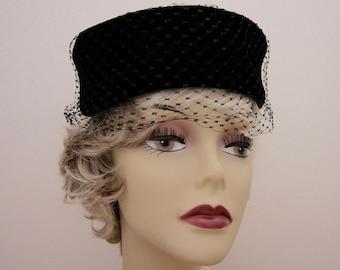 Vintage Black Velvet Pillbox Hat netted Veil