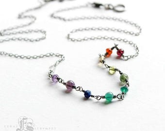 Delicate Rainbow Necklace for Everyday.  Stones and Sterling Silver.  Bifrost. Sindri's Forge.