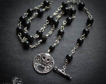 Gothic Winged Skull Choker Necklace with Rosary Beads. The Boleyn.