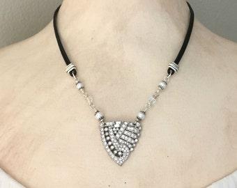 Art Deco Necklace - Black Leather Necklace - Rhinestone Necklace - Vintage Repurposed Rhinestone Dress Clip - Pendant Necklace - Unique Gift