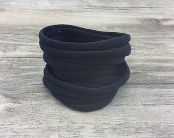 Nylon Headbands, Black Nylon baby headbands, wholesale nylon headbands, Soft nylon Headbands, leaves no mark, DIY Headband supplies, bulk