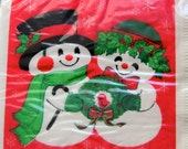 HOLIDAY SALE 1960s Vintage Paper Snowman Beverage Cocktail Napkins Christmas Hallmark New Old Stock