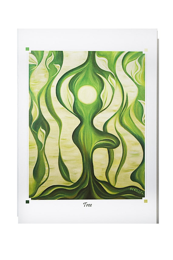 YOGA SERIES Greeting Card TREE - 5x7 from Original Oil Painting