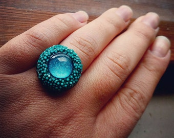 mini poly ring in sea green teal hues - compact cocktail ring in vibrant colors