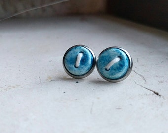 Tiny clay button earrings blue. Stud earrings stainless steel
