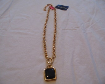 vintage nwt givenchy pendant necklace black gold plated signed