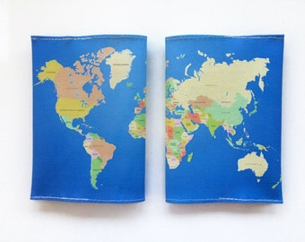World Map Passport Cover - Passport case with a print of the map of the world