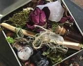 Wildheart Travel Altar Kit ~ Tiny Pocket Tin ~ Anointing Oil, Smudge, Rose Quartz, Quartz Point, Herb Salt, Elixir ~ Ritual Love Spell Kit