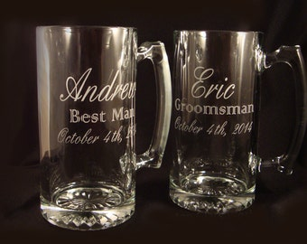 Custom Etched Beer Mugs - Set of 5 - Personalized Mugs - Wedding Party Gift - Groomsman Gift - Father of the Bride Gift - Wedding Glasses